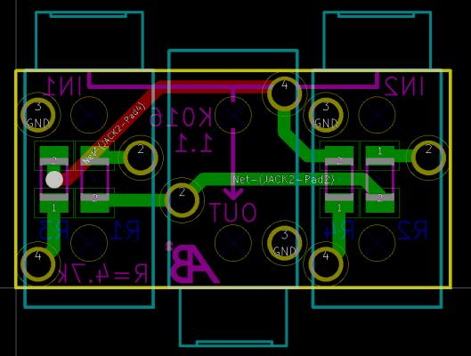 Původní schéma na stereo pasivní mix, zdroj: https://ab2tech.com/ab2-k016-3-5mm-passive-audio-mixer/