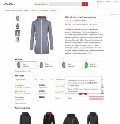 Zobrazení na detailu produktu