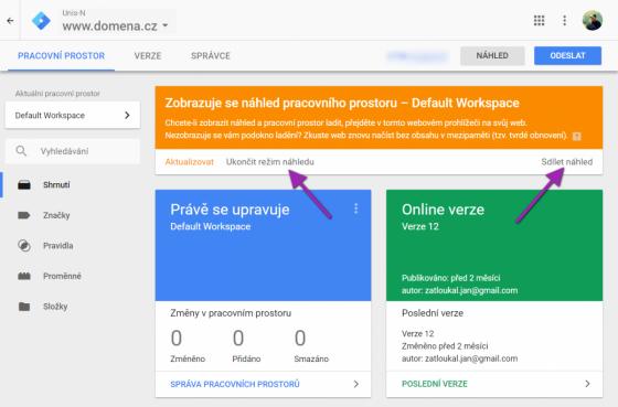 Ukončení a sdílení náhledu v Google Tag Manageru