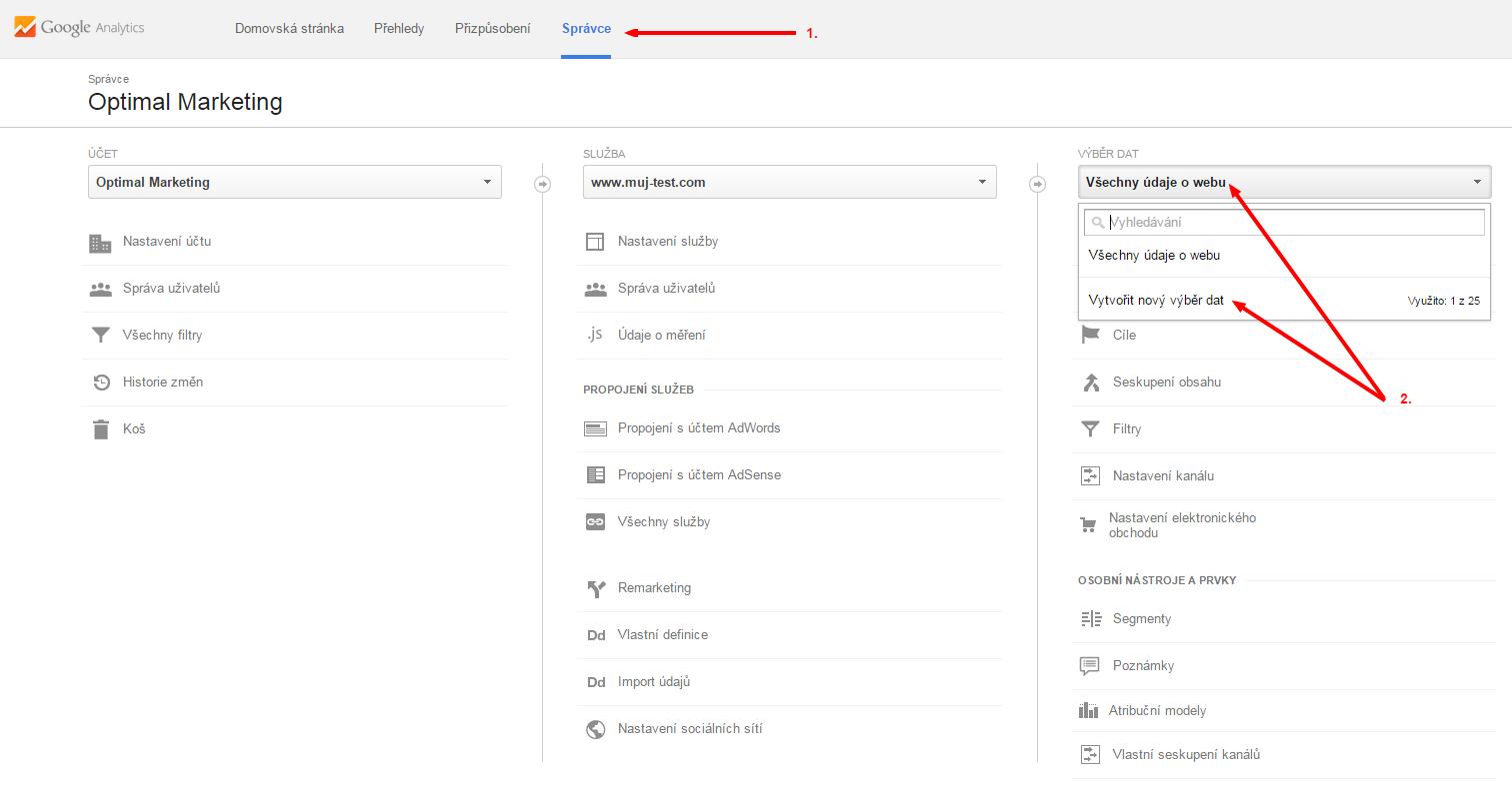 Nový výběr dat v Google Analytics