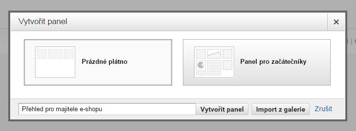 Vytvoření nového panelu