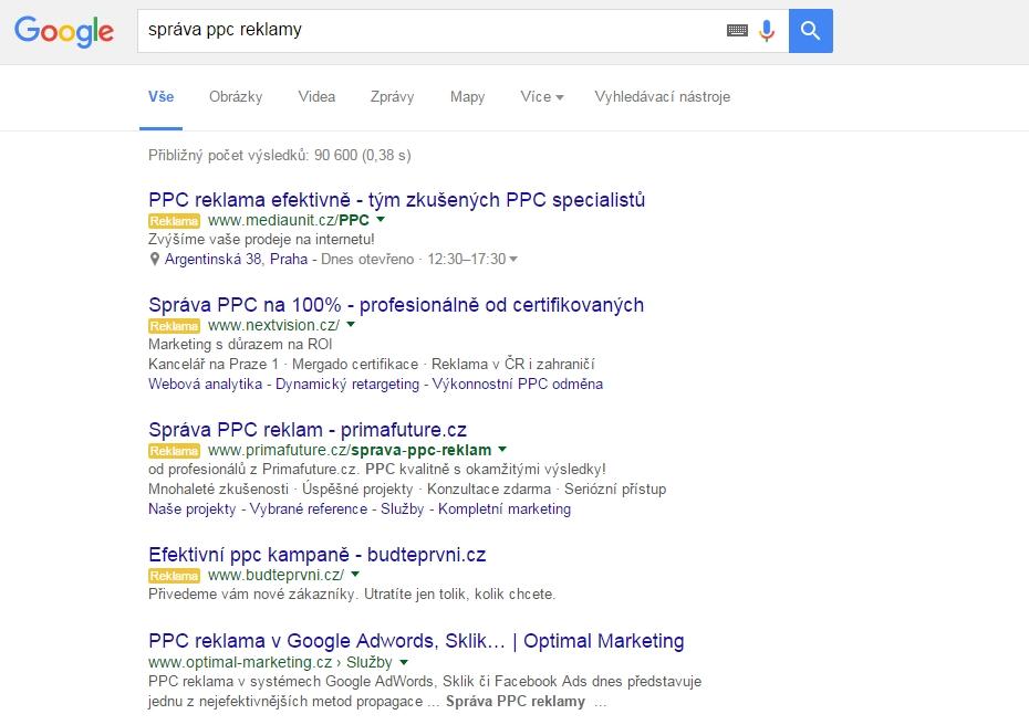 4 pozice reklam v Google AdWords