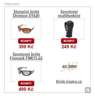 Sklik - Dynamický remarketing - ukázka inzerátu Brýle-čepice.cz