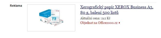 Sklik - Dynamický remarketing - ukázka inzerátu Office2000.cz