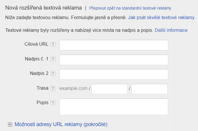 Rozšířené textové inzeráty v Google AdWords