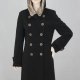 Flaušový kabát černý