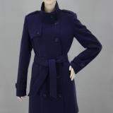 Dámský flaušový kabát v královsky modré barvě