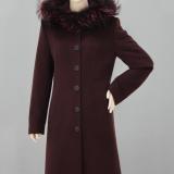 Flaušový kabát bordo