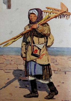 Dobová pohlednice s ženou z Nové Lhoty.