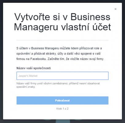 dialog pro vytvoření Business Manager účtu