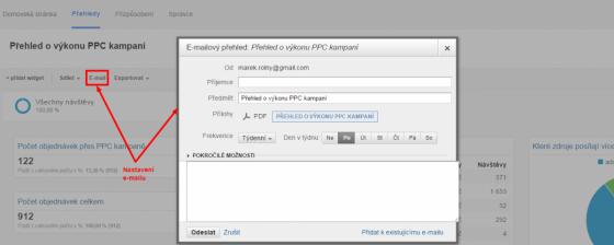 Na vybraném reportu či panelu klikněte na odkaz Email a vyplňte potřebné údaje
