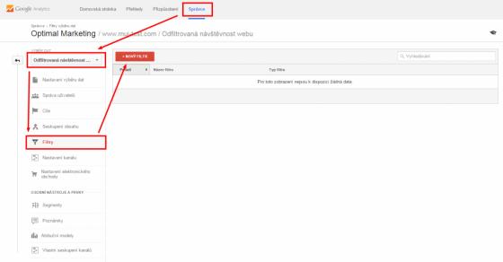 Nastavení nového filtru v Google Analytics