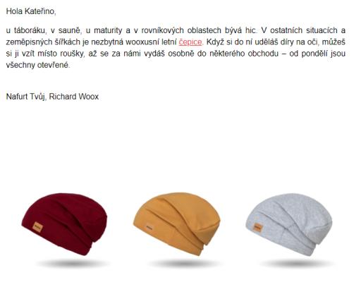 Příkladem promyšleného tónu komunikace je firma Woox. Takto vypadá například její e-mail.