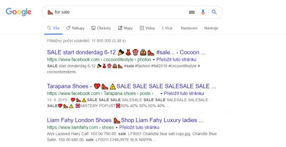 Na emoji v title a meta description sází i některé e-shopy