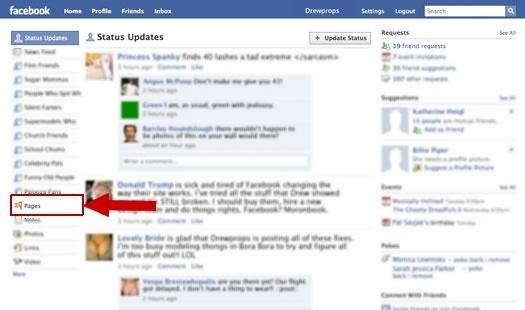 Starší verze Facebooku obsahovala odkaz na filtr Stránky (Pages)