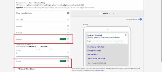 Google nově nabízí možnost třetího pole pro nadpis
