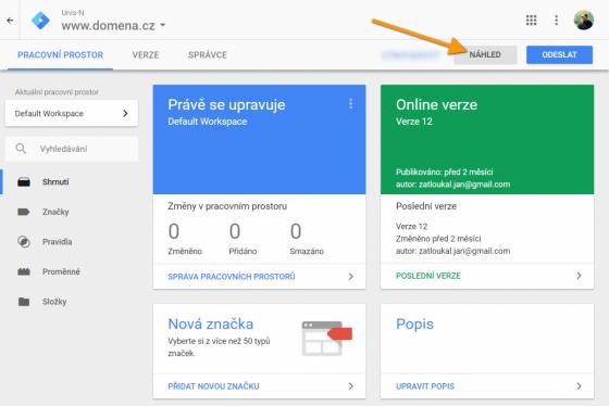 Náhled v Google Tag Manageru
