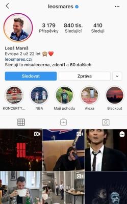 Osobní instagramový účet známého českého moderátora Leoše Mareše