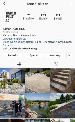 Instagramový účet firmy Kámen PLUS s.r.o.