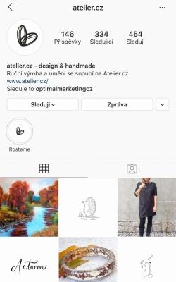 Instagramový účet firmy Atelier.cz