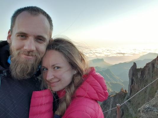 Nejvyšší vrchol Madeiry s východem slunce