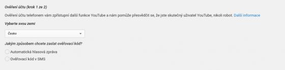 Ověření účtu na YouTube