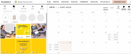 Planoly - kalendář pro plánování příspěvků na sociální sítě a náhled předchozích postů