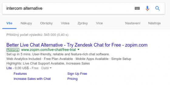 Ukázka cílení na značku konkurence ve vyhledávání Google