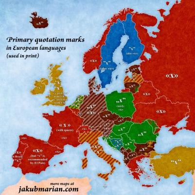 Mapa uvozovek v evropských jazycích (autor: Jakub Marian)