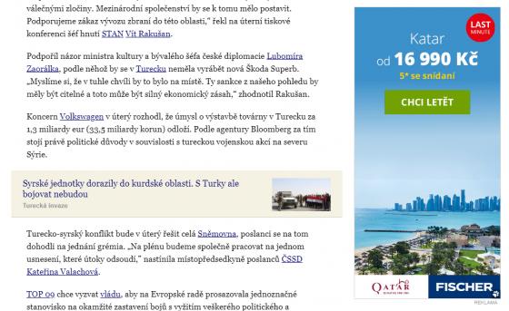 Reklama na dovolenou v Kataru (blízký východ) a článek popisující problémy v blízké lokalitě.