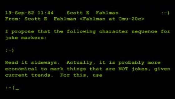 Profesor Fahlman si zprávu neuložil. Podařilo se ji obnovit až lidem ze společnosti Microsoft. Víme proto, že první emotikon byl odeslán přesně 19. září 1982 v 11:44. Zdroj: symmetrymagazine.org