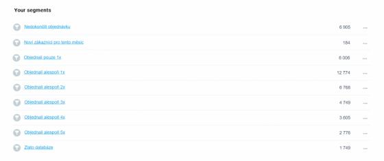 Příklad základního rozdělení zákazníků podle počtu provedených objednávek