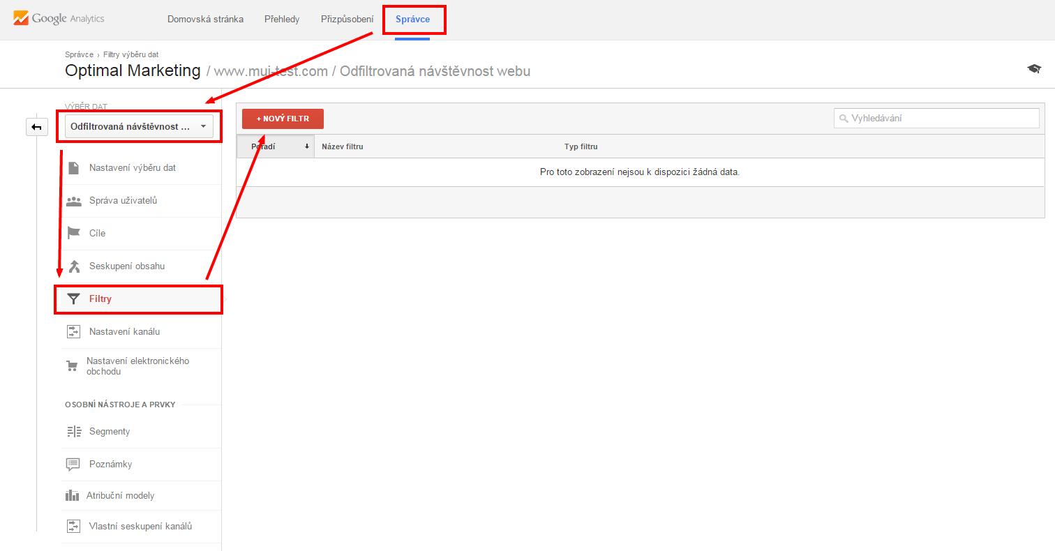 Vytvoření filtru v Google Analytics