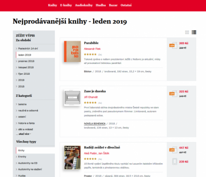 Top-selling books in January 2019 on one of the most visited Czech internet bookstores